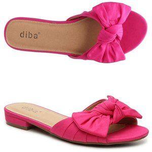 Diba Fuscia Gizmo Bow Flat Slides Sandals 6.5